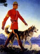 Dipinto ritratto montato Polizia Mounty GIUBBA ROSSA WOLF HUSKY Canada POSTER bb8670