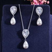 Niedliche Wassertropfen Zirkonia baumelnde Perlenkette und Ohrringe Schmuck-Sets