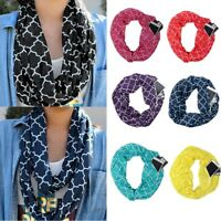 Women Winter Convertible Infinity Scarf Pocket Loop Zipper Pocket Scarves 2018