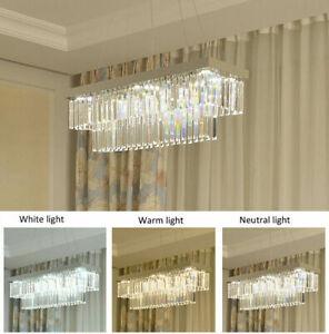 Modern chrome rectangular dining room K9 clear crystal Dimmable LED chandelier