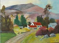 E H Goller Signed Rural American Landscape Red Roof House Farm Country Mountain