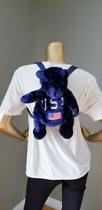 Vintage 90s Teddy Bear Backpack Purse USA Flag Red White Blue Flag Patriotic