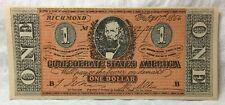 UNITED STATES 1804 ... $1 CONFEDERATE BANKNOTE ... RICHMOND