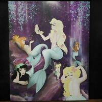"Disney Fan Art of Heather L. Bean 16""x20"" Canvas Lagoon Ladies Mermaids Digital"