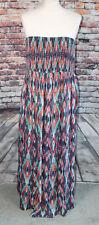 Simply Be Bandeau Maxi Dress Shirred Multi Colour Ikat Ethnic Festival Boho 20