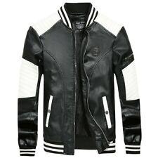 Men's Faux Leather Jacket Motorcycle Slim Fit Biker Casual Coat Baseball Outwear