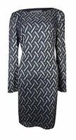 Jessica Howard Dress Sz 12 Navy Blue Silver Long Sleeve Cocktail Evening Dress
