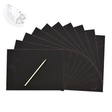 10 Sheet Magic Scratch Art Paper  Coloring Cards Scraping Drawing with Stick