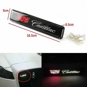 UNIVERSAL For Cadillac Luminescent LED Lights Front Bumper Grille Emblem Badge