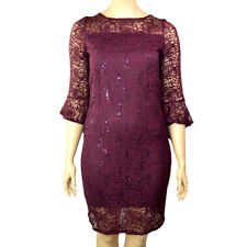 EX.MANDCO BURGUNDY BERRY SEQUINED FLORAL LACE OVERLAY DRESS Size 14