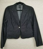 BISOU BISOU WOMEN'S BLACK DENIM JACKET WITH RHINESTONE ACCENT SIZE 12