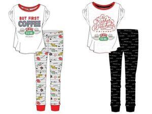 Ladies Friends Character Pyjamas TV Teens PJs Nightwear Black Central Perk