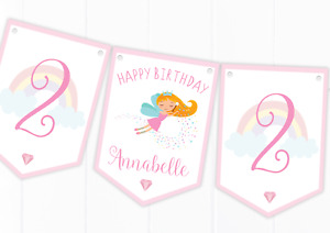 Personalised Fairy Happy Birthday Bunting, Children's Party Decoration Banner