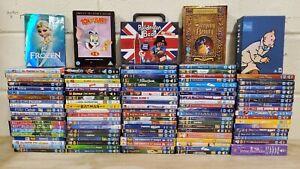 113 x Kids DVD Job Lot - Paddington Disney Tintin Frozen Pixar DC Nemo Up Robots