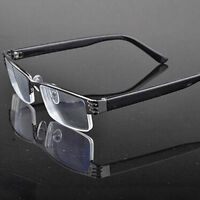 Half-frame Design Men&Women Metal Black Reading Glasses +1.00 to +2.50