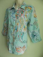 CHICOS *** NO IRON *** 100% Linen *** Whimsy Batik Sina BLOUSE SHIRT TOP size 1