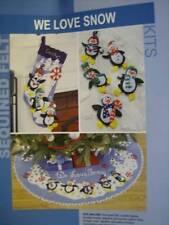 We Love Snow -3 Sequined Felt Kits- Penguins - Stocking, Ornaments, Tree Skirt