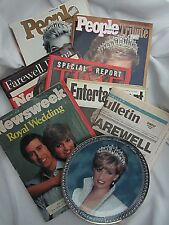 PRINCESS DIANA LOT Plate, Magazines and Newspaper Collectible