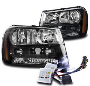 02-09 CHEVY TRAILBLAZER/02-06 EXT CRYSTAL HEADLIGHTS LAMPS BLACK W/10K HID