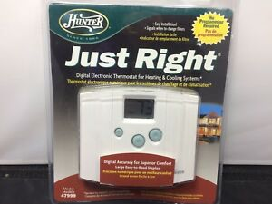 Hunter Just Right 47999 Digital Electronic Thermostat Heating & Cooling Systems