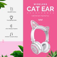Wireless Bluetooth Cat Ear Headband LED Lights Headphones Earphone Headset Phone