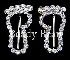 2 PCS BABY FEET FOOT PRINTS CRYSTAL BUCKLE RIBBON SLIDER CHRISTENING INVITATIONS