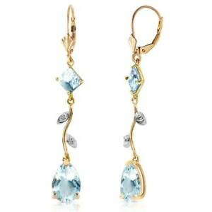 Natural Aquamarine Gems & Diamonds Chandelier Leverback Earrings 14K Solid Gold