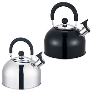2.5L STAINLESS STEEL WHISTLING KETTLE GAS ELECTRIC MOTORHOME HOB CAMPING BOAT