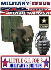 USED Military Issue Woodland Camo MOLLE Hand Grenade Pouch/Molle Compass Pouch