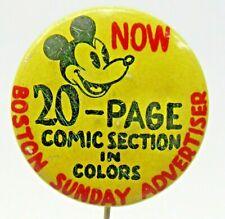 "1930's MICKEY MOUSE Boston Sunday Advertiser 1 1/8"" pinback button DISNEY ^"