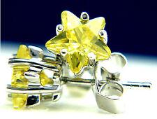 New 925 Sterling Silver Fashion Womans Star Cut Citrine CZ Stud Earrings