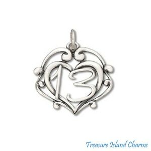 Number 13 Heart 13th Birthday Anniversary 925 Sterling Silver Charm Pendant