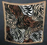 Vintage BOLD Woven STATEMENT Scarf LIQUID GEOMETRIC PRINT Brown Black UNIQUE!