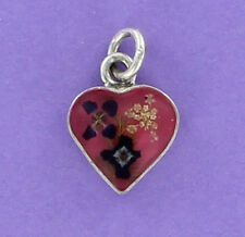 Heart with Real Miniature Flowers Charm Sterling Silver 925 for Bracelet Unique