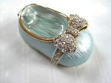 Collectibles Blue Enamel Baby Shoe with Austrian Swarovski Cystals Trinket Box