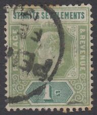 Straits Settlements KEVII 1c Pale Green SG110a Very Good Used Stamp 1902 Malaya
