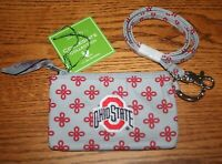 Vera Bradley ZIP ID  LANYARD SET OHIO STATE BUCKEYES Gray Red badge holder NEW