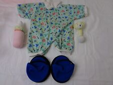 Build A Bear 4Pc Set--Green Onesie with Designs,Rattle,Plush Bottle and Slippers