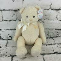 Baby Gund Teddy Bear Cream Ribbon Bow Waffle Fur Sitting Stuffed Animal Toy NWT