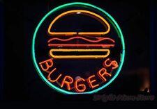 """Burgers Hamburger Open Neon Light Sign 24""""x24"""" Beer Bar Decor Lamp Glass"""