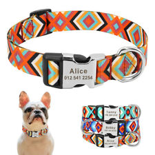 Nylon Personalised Dog Collars Custom Name Number Engraved for Small Large Dogs