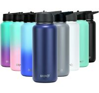 DRINCO Insulated Stainless Steel Water Bottle 32oz w straw lid 20oz w sport lid