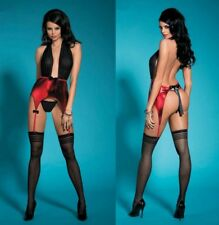 Ensemble sexy porte-jarretelles noir et rouge femme
