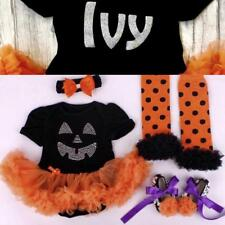 PERSONALISED HALLOWEEN PUMPKIN TUTU, Bling Pumpkin Baby Girl Set Name on Back