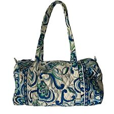 Vera Bradley Mediterranean White Retired Pattern Duffel Bag Weekender Blue EUC