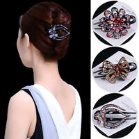 Women's Crystal Flowers Hair Clips Slide Hairpin Pins Comb Butterfly Accessories