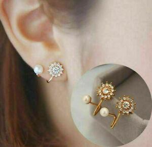 Fashion Women Jewelry Flower Rhinestone Earrings Stud Crystal Pearl Earring Clip