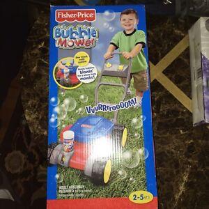 Vtg Fisher Price Bubble Maker Soap Bubble Mower Push Toy Toddler Infant New