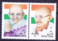Bhutan 1997 Mahatma Gandhi India Flag Stamps 2v MNH
