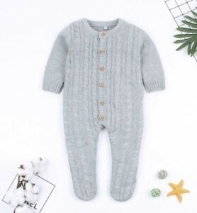 Baby Grey Knitted Sleepsuit Age 18-24 Months